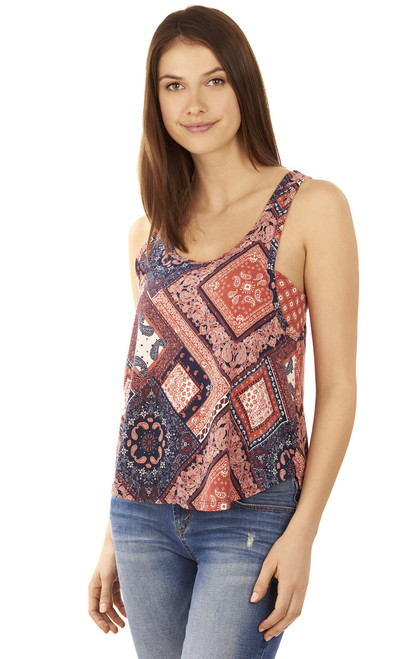 Printed Tank with Bandeau In Nude