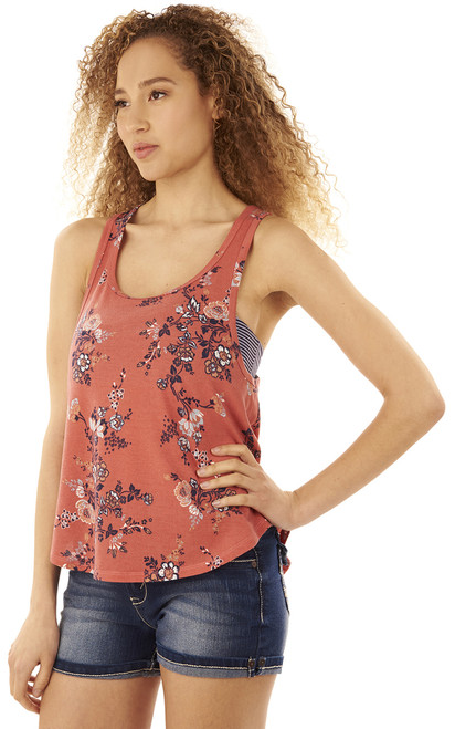 Printed Tank with Bandeau In Cedar