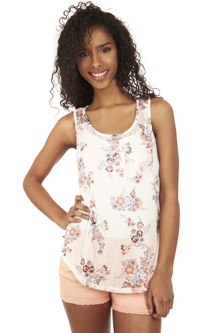 Shirttail Pocket Tank Top In Antique White Print
