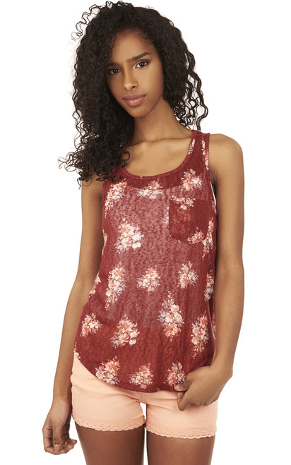 Shirttail Pocket Tank Top In Red Floral