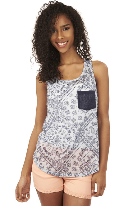 Shirttail Pocket Tank Top In Blue Print
