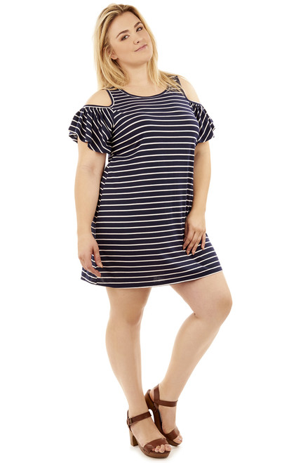 Plus Size Cold Shoulder Frill Dress In Navy