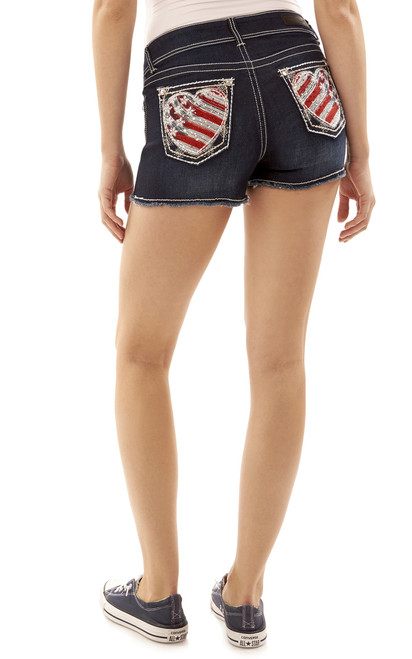 Americana Luscious Curvy Bling Fray Shorts In Kagan