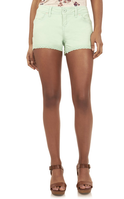 Twill Shorts with Crochet Trim In Tea Green
