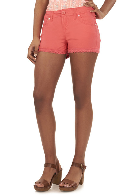 Twill Shorts with Crochet Trim In Watermelon