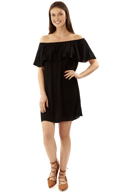 Off The Shoulder Frill Dress In Black