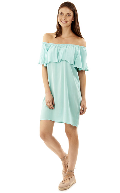 Off The Shoulder Frill Dress In Aqua