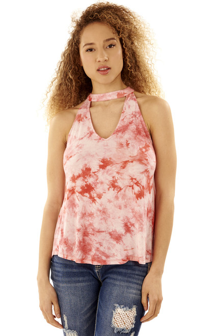 Tie Dye Choker Tank In Rose