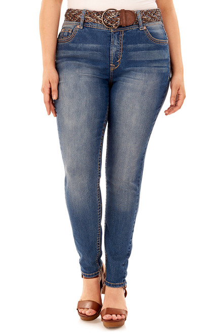 Plus Size Luscious Curvy Belted Skinny Jeans In Kristina