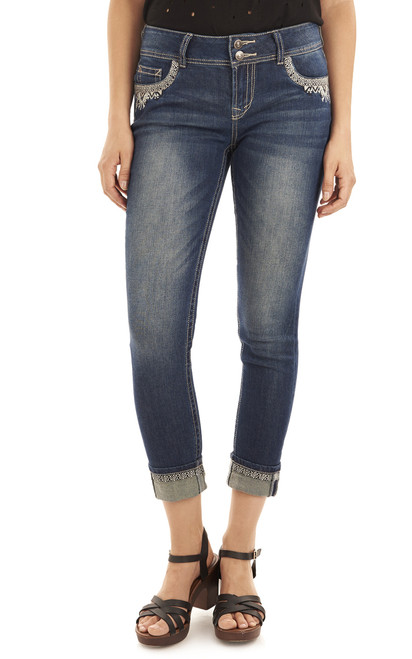 Luscious Curvy Embellished Ankle Jeans In Brittney