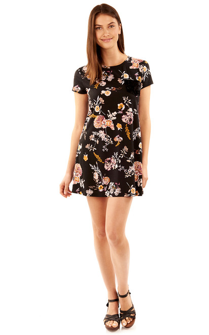 Floral Tee Dress In Black Floral