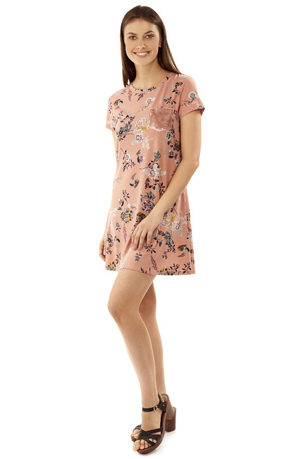 Floral Tee Dress In Rose