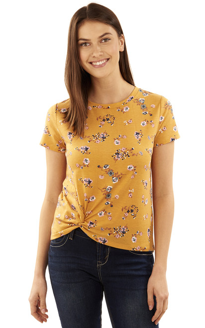 Printed Knot Front Tee In Honey Yellow