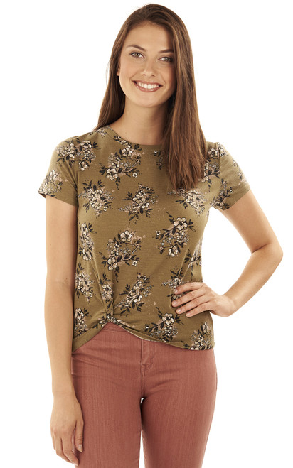 Printed Knot Front Tee In Deep Green