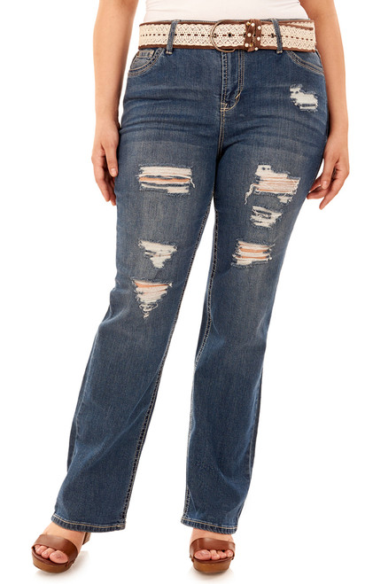 Plus Size Legendary Belted Bootcut Jeans In Erika
