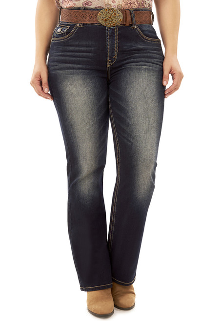 Plus Size Legendary Belted Bootcut Jeans In Kat