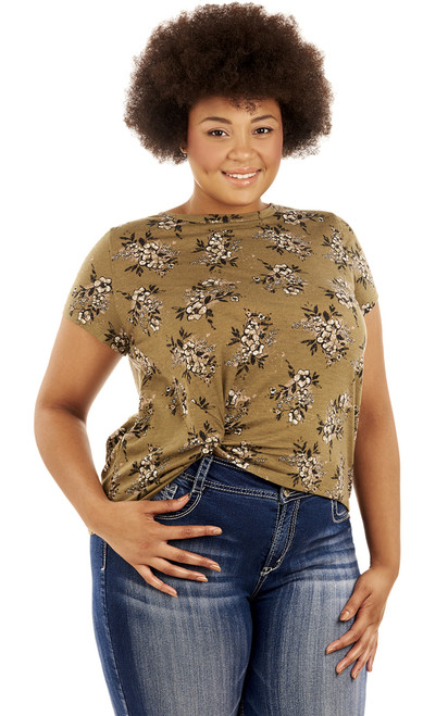 Plus Size Printed Knot Front Tee In Deep Green