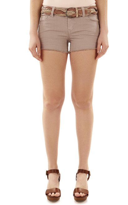 Belted Legendary Colored Fray Shorts In Stone Grey