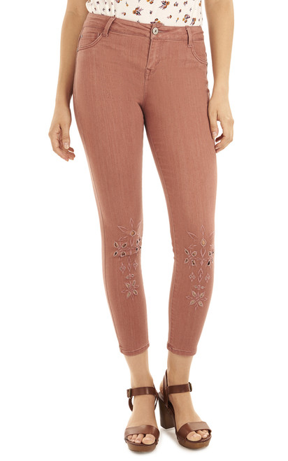 Irresistible Skinny Embroidered Ankle Jeans In Rose Brown