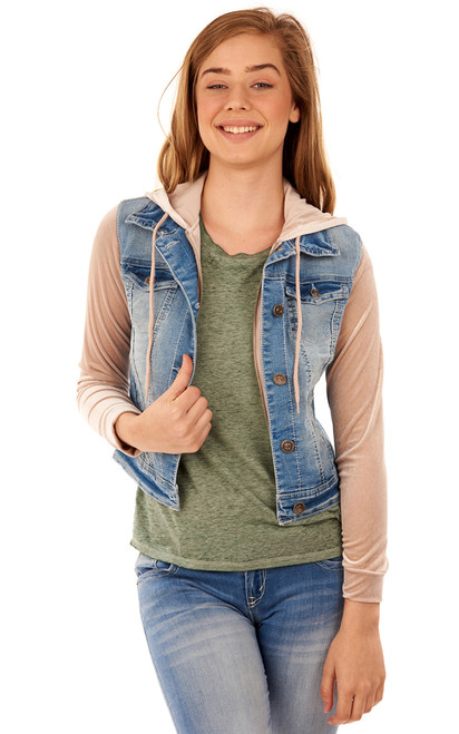Velvet Sleeve Denim Jacket In Fern