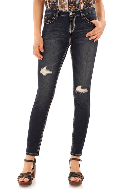 Long Inseam Basic Sassy Skinny Jeans In Dazzler