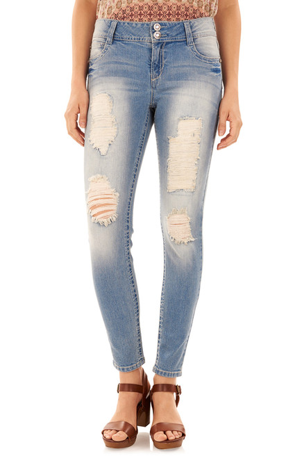 Luscious Curvy Bling Destructed Skinny Jeans In Fern