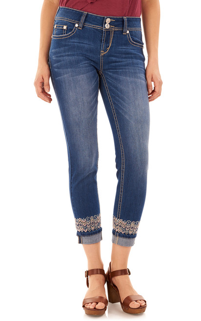 Luscious Curvy Skinny Embroidered Ankle Jeans In Penny