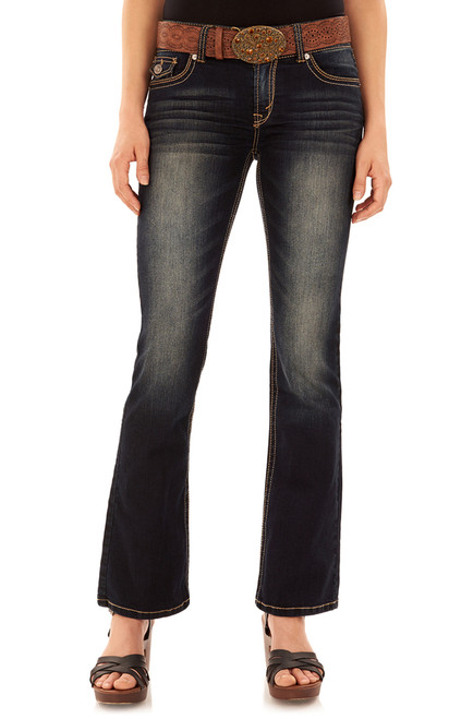 Luscious Curvy Belted Bootcut Jeans In Kat