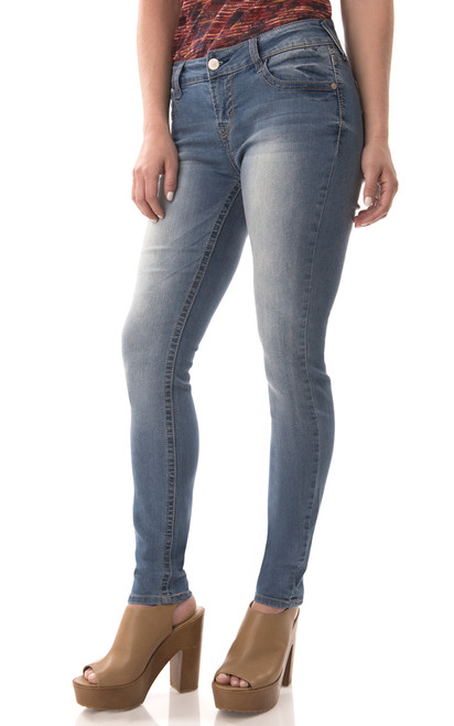 Short Inseam Basic Sassy Skinny Jeans In Darcy