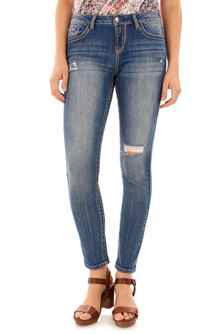 Short Inseam Basic Sassy Skinny Jeans In Elaine