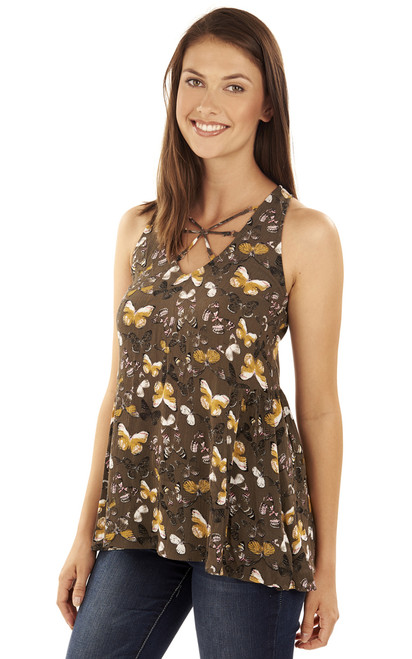 Butterfly racerback tank top In Olive Print