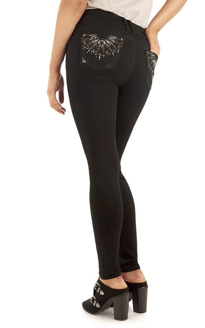 Luscious Curvy Bling Skinny Jeggings In Black
