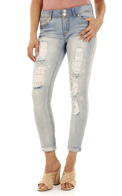 Luscious Curvy Embellished Ankle Jeans In Skyler