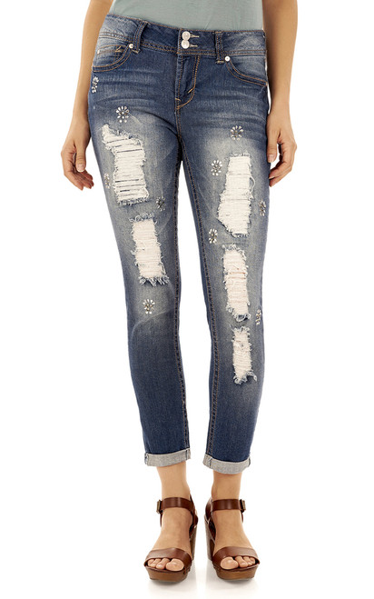 Luscious Curvy Embellished Ankle Jeans In Lauren