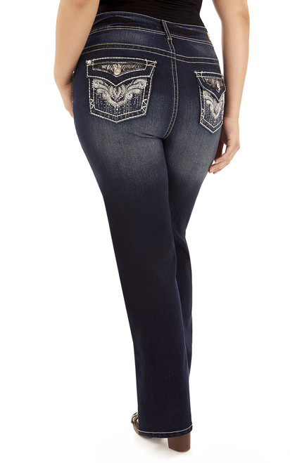 Plus Size Luscious Curvy Bling Bootcut Jeans In Rinse Vintage