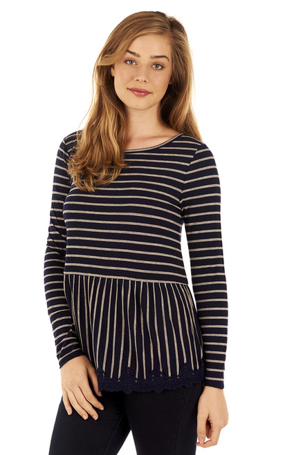 Striped Lace Top In Navy