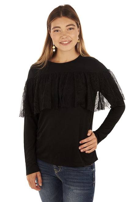 Lace Ruffle Pullover In Jet Black