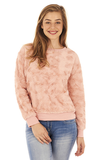 Faux Fur Crew Neck Sweatshirt In Rose