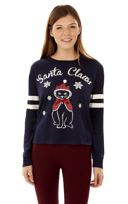 Holiday Santa Claws Graphic Pullover In Navy