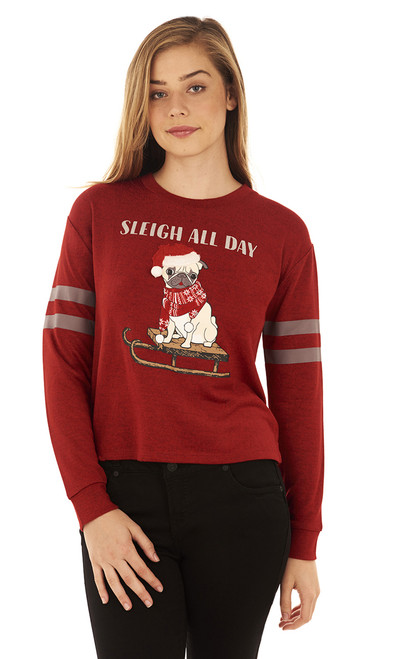 Holiday Pug Graphic Pullover In Candy Red