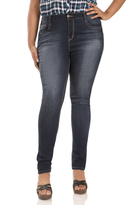 "Plus Basic Sassy Skinny Jeans (30-32"") In Scarlett"