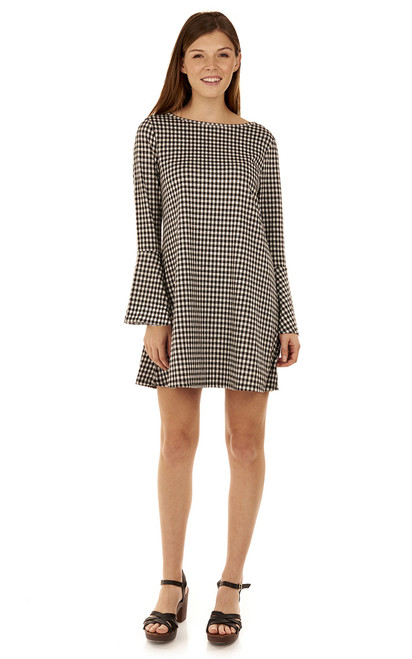 Bell Sleeve Dress In Black Plaid