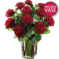6 Red Roses Including Vase
