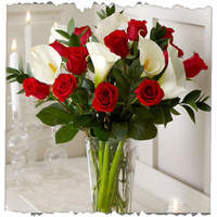 12 Red Roses And Calla Lily Bunch