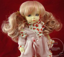 Unoa Yo-SD Dollfie Pink Blonde Curly Pigtails 6-7 Wig
