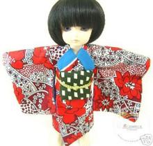 Dollfie Yo-SD Outfit Red Flowers Yukata Kimono Dress