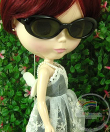 "Releaserain Doll Glasses Black Frame Black Lens Sunglasses #A8 for 12"" Blythe Dolls"