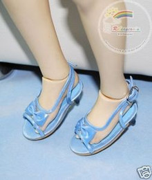 Dollfie SD Girl Shoes Clear/Patent Bow Sandals Blue