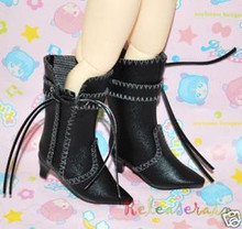 Dollfie Yo-SD Shoes Cowgirl Tassel Heel Boots Black