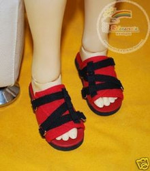 Black Straps Red Sandals Shoes for SD13 Boy Rainy Girl BJD Dollfie Dolls